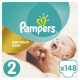 Подгузники Pampers Premium Care New Baby 2 (3-6 кг) Меgа Pack, 148 шт.