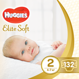 Подгузники Huggies Elite Soft Newborn 2 (4-7 кг), 132 шт. - Pampik