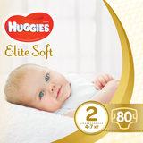Подгузники Huggies Elite Soft Newborn 2 (4-7 кг), 80 шт. - Pampik