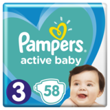 Подгузники Pampers Active Baby 3 (6-10 кг), 58 шт. - Pampik
