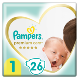 Подгузники Pampers Premium Care Newborn 1 (2-5 кг), 26 шт.